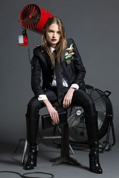 Dsquared2 Pre-Fall 2016 - Look 9 - aviator's jacket with slim black pants, white shirt, and skinny tie