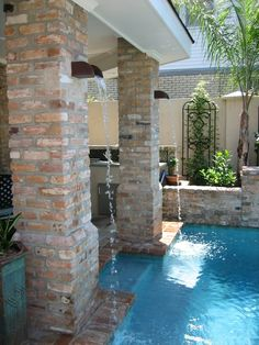 Geometric pool brick coping nola inspired backyard for Pool design new orleans