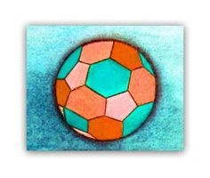 Sports Nursery Art Orange & Aqua Soccer Ball Art by handpainting