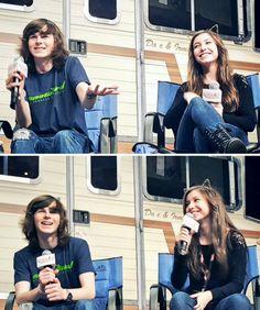 Chandler Riggs and Katelyn Nacon at Walker Stalker Atlanta on October 31, 2015