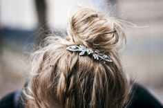 casual day: messy up bun with sparkle clip