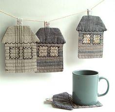Textile Houses Coasters por BozenaWojtaszek, $50.00-Me gustan para agarraderas.