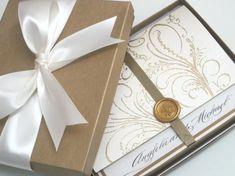 Boxed Luxury Wedding Invitation - Marie Antoinette inspired -Regal Cream-  SAMPLE