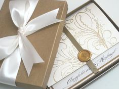 Boxed Wedding Invitation - Regal Cream - Marie Antoinette inspired -Regal -Angela Collection - SAMPLE
