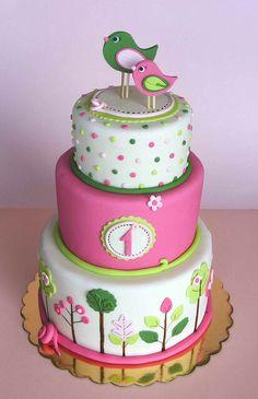 three tier pink, white and green bird cake