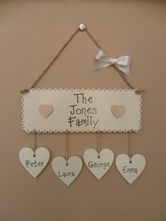 Personalised Family name plaque. Wooden by JulesHandmadeGifts