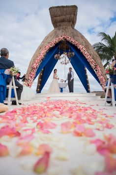 Rose pedals on the Ilse. what a way to receive a bride