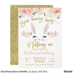 Shop Floral bunny face Birthday Invitation created by Sugar_Puff_Kids. Bunny Birthday, Girl First Birthday, First Birthday Parties, First Birthdays, Printable Invitations, Invites, 1st Birthday Invitations Boy, Bunny Party, Bunny Face