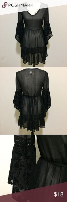 Band of Gypsies Bell Sleeve Tunic Peasant Dress This super gorgeous boho piece by Band of Gypsies is in excellent condition. Size XS. Can be worn as a top, or dress. Black chiffon material. Sleeves feature a velvet floral pattern throughout the chiffon. Topshop Tops Tunics