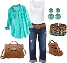 Colbolt blue Old Navy button up,doll house jeans. white tank  tan belt, Turquoise bracelet, nude Guess wedges Prada leather purse.
