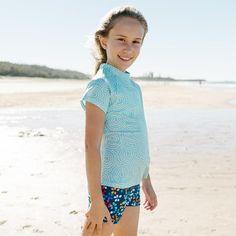 Girls Mint Pebble Short Sleeve Rashie | Sandy Feet Australia