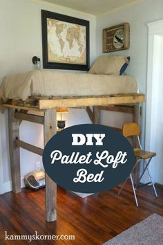DIY loft bed from a pallet and some fence posts