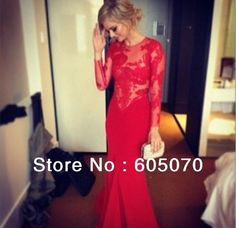 Red Lace Prom Dresses 2014 New Arrival Bridesmaid Gowns Sheath Floor Length Long Sleeves Custom Made Long Gorgeous-in Prom Dresses from App...