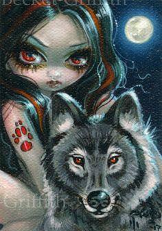 Red Eyed Wolf ACEO Jasmine Becket-Griffith big eyes gothic fairy fantasy art ATC | eBay