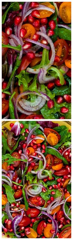 Pomegranate, Arugula, Spinach, Red Onion and Sweet Grape Tomato Salad ~ Colorful and delicious