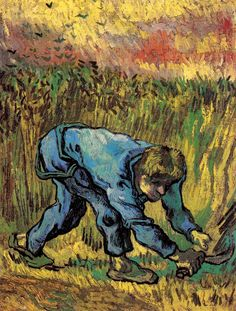 Reaper with Sickle (after Millet) - Vincent van Gogh - Painted in Sept 1889 while in the Saint-Rémy Asylum - Current location: Van Gogh Museum, Amsterdam, Netherlands .............#GT