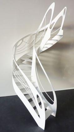 Escalier design contemporain débillardé créé par Jean Luc Chevallier pour La Stylique.
