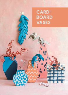 Cardboard Vases – The House That Lars Built – Vase Diy Recycled Crafts, Diy And Crafts, Diy Paper, Paper Crafts, Paper Art, Diy For Kids, Crafts For Kids, Diy Karton, Diy Doll Miniatures