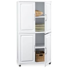 4 Door Storage Cabinet by Ameriwood - a kennel possibility White Storage Cabinets, Kitchen Cabinet Storage, Door Storage, Storage Shelves, Locker Storage, Kitchen Pantry, Office Storage, Room Kitchen, Home Office Cabinets