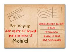 Travel / Farewell Party Invitation, Bon Voyage - Going Away Party Invitation - Farewell Invitation - Vacation - Semester Abroad - Invitation by DesignsbyLyssaLou on Etsy https://www.etsy.com/listing/212735744/travel-farewell-party-invitation-bon