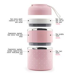 1/2/3 Layers Portable Stainless Steel Lunch Box Thermal Insulated Leak-Proof Food Fruit Storage