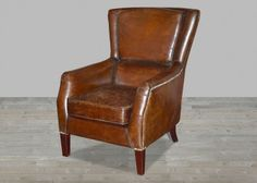 Top Grain Leather Brown Club Chair with Nail Heads