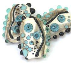 Turquoise Tango  Handmade Lampwork Glass Bead Set by sarahhornik