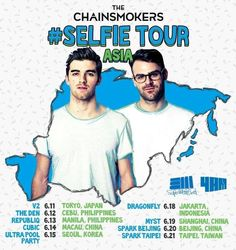 The Chainsmokers Tour Asia in Cebu Chainsmokers, Seoul Korea, Cebu, Taipei, Beijing, Live Music, Independence Day, Philippines, Tokyo