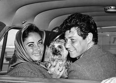Singer Eddie Fisher and actress Elizabeth Taylor share the limelight with a Yorkshire terrier.