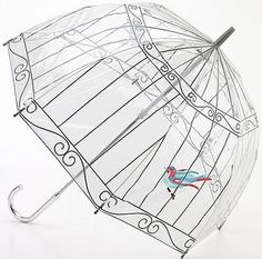 Draw with a permanent marker on a clear umbrella and paint a little birdy...or buy one. :)