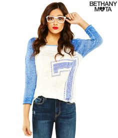 Long Sleeve 7 Baseball Graphic T from Bethany Mota Collection at Aeropostale