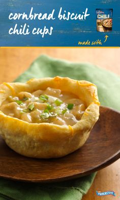 Cornbread Biscuit Chili Cups are a fun way to serve chili on game day ...