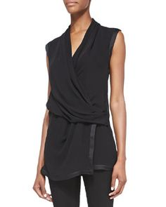 Helmut Lang Pattern-Trim Draped Silk Blouse