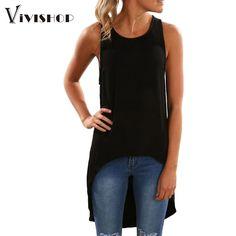 2016 verão mulheres tops Mangas Assimétricas Hem O Pescoço T-shirt Longo Mulheres Blusas Camisa Casual Tops Tee camisetas mujer