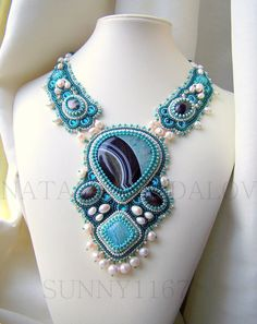 Bead Embroidered  necklace ' Louise ' vs Druzy by Sunny1167, €300.00