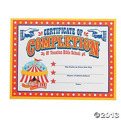 A printable certificate recognizing vacation bible school over the top certificates of completion recognize great work at vbs and reward your students for a job well done with a keepsake over yadclub Images