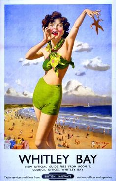One of the many railway posters, which once promoted Whitley Bay as a seaside resort Train Posters, Railway Posters, Posters Uk, Retro Posters, Vintage Films, Vintage Travel Posters, Vintage Ads, Vintage Airline, Vintage Advertisements