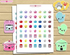 Crockpot kawaii Printable Planner Stickers include by designby2