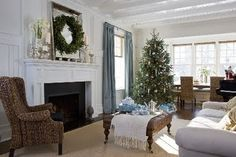 Inspiration for a light, bright Christmas ~ My living area is white with aqua-ish curtains!