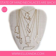 State of Mind Necklaces - $15 with FREE SHIPPING! Florida, Mississippi, Alabama, Texas, Louisiana, Tennessee, California - UF FSU UT BAMA USC LSU UT AUBURN OLE MISS TEXAS A&M
