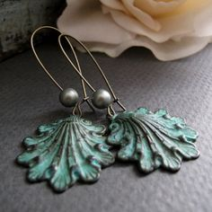 earrings, I love the weathered paint and rusted look
