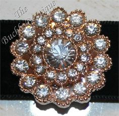 Rose Gold Round Circle of Rhinestones Buckle slide