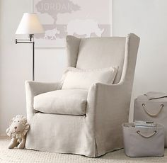 a slipcovered swivel glider. inspired by the classic wingback chair. #rhbabyandchild
