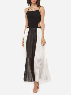 Spaghetti Strap Dacron Color Block Hollow Out Maxi-dress