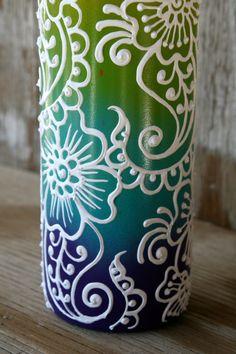 Items similar to Rainbow Colored Hand Painted Wine Bottle Vase on Etsy Wine Bottle Vases, Empty Wine Bottles, Diy Bottle, Wine Bottle Crafts, Painted Glass Bottles, Painted Wine Glasses, Pot Mason, Glass Painting Designs, Jar Art