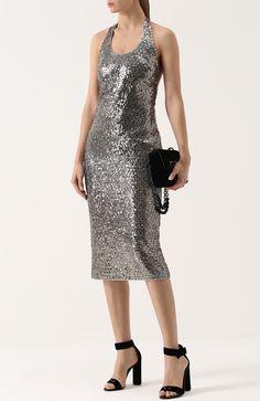 ce883f8f8fb Женское серебряное приталенное платье-миди с пайетками и открытой спиной  Tom Ford