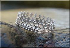 Queens Crown Ring Sterling Silver Stacking Ring by thewrappedpixie