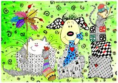"Whimsical Zentangle® Inspired ""Christmas Critters"" finished 8-17-14. A 12-pack of note cards are available for $23.00 with FREE shipping and handling. Prints also available plus much more."