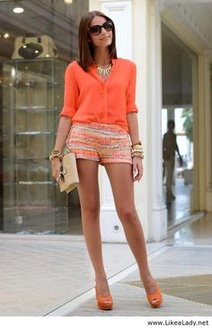 Coral fashion ~ Like the color and pattern with different shoes.