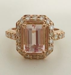 A bespoke engagement ring http://nudejewellery.co.uk/unique-bespoke-jewellery.html   #rosegold #morganite #gemstone #bespoke #engagement #ring